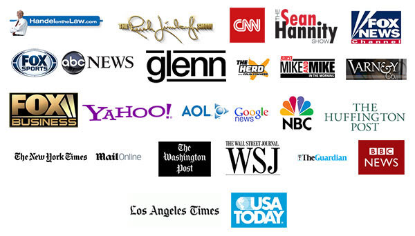 News outlets that feature Real Estate Sales LLC technology (CNN, FOX, Yahoo, BBC, LA Times, ABC News)